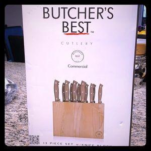Commercial butcher's knifes 13 pieces w/block.